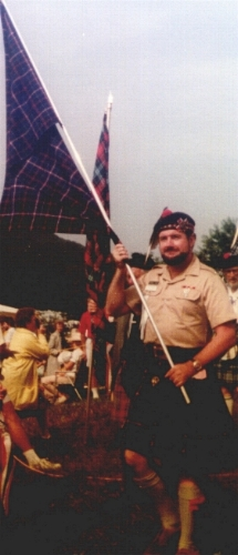 Richard Dunlop, creator of the Dunlop tartan in 1982 Grandfather Mountain unveiling of the Tartan