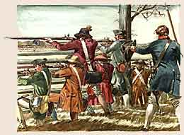 Illustration of the Militia at Guilford Courthouse