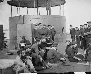 Officers and men on the deck of the USS Monitor on the James River, Va. on July 9 1862